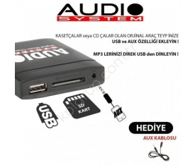 Skoda SuperB 2008 ve 2011 Model arası Teybine Usb Sd Aux Adaptörü
